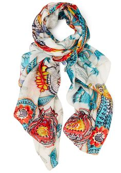Finding the Fun Scarf. When you wake up feeling extra cheery, wrap this 100% silk scarf around your neck and give your bestie a call. #multi #modcloth