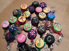 Monogram Badge Holder , Retractable reel with Embroidery Button, Monogram Initials lanyard, Initial ID badge Embroidery, Monogram ID badge by Knit1andSew2 on Etsy
