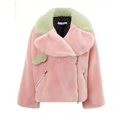 Vivetta Pink Faux Fur Pippa Jacket (8,385 MXN) ❤ liked on Polyvore featuring outerwear, jackets, coats, fur, coats & jackets, pink, zip front jacket, pink biker jacket, faux-leather moto jackets and pale pink jacket
