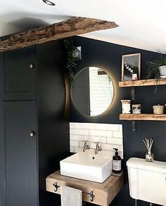 Floating Bathroom Sink, Small Bathroom Sinks, Rustic Bathroom Vanities, Downstairs Bathroom, Small Sink, Small Wc Ideas Downstairs Loo, Floating Toilet, Small Rustic Bathrooms, Rustic Bathroom Shelves