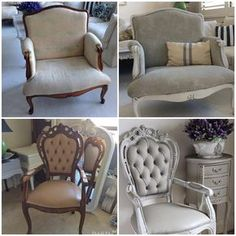 """""""Have to share these painted chair makeovers I did a while ago. The top chair is fabric and the bottom chair is vinyl. I painted and waxed both with Annie…"""""""