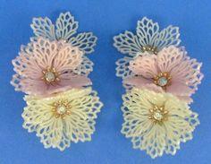 Vintage 1950s/60s Coro Plastic Flowers Clip-On Earrings