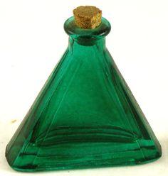 emerald glasses | Emerald Green Glass vintage Triangle shaped Bottle ... | Vintage Finds