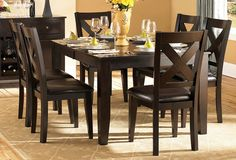 Crown Point 5 Pc Dinning Table Set (Table, 4 Chairs) Adorn your dining area with Crown Point Collection. This grand scale casual dining in warm merlot finish is as strong and durable as they are stunn