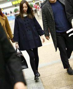 """[160229] Arrival at Beijing for Jumei Awards Ceremony ✨ — #krystal #krystaljung…"