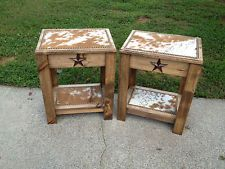 Good Set Of 2 Occasional End Tables Cowhide / Star /western Decor /made In Usa