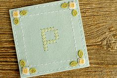 Floral Monogrammed Coaster by Erin Lincoln for Papertrey Ink (May 2015)