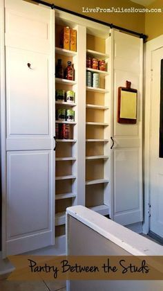 When you absolutely don't have space. DIY storage between the studs with some sliding barn doors to boot!