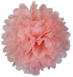 Tissue Pom Pom Paper Flower Ball 16inch 4pcs Carnation Pink