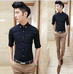 2014 Men Fancy Clothing Unique Collar Half Sleeve Shirt Elegant Men Slim Dress Shirt Wholesale $24.58