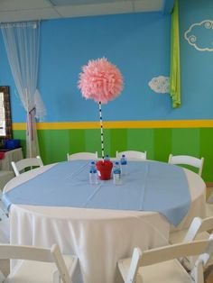 Pink Dr. Seuss tree centerpiece.  Made for less than $5 each!!