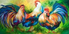 Art 'ROOSTERS THREE' - by Marcia Baldwin from Animals