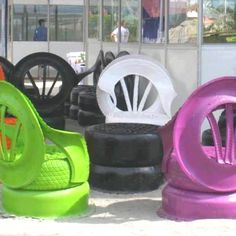Recycled old tires