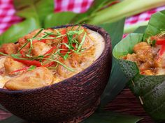 Amok Trey is a coconut curry, gently steamed in banana leaves and is considered to be the national dish of Cambodia. It's usually made with fish, but ...