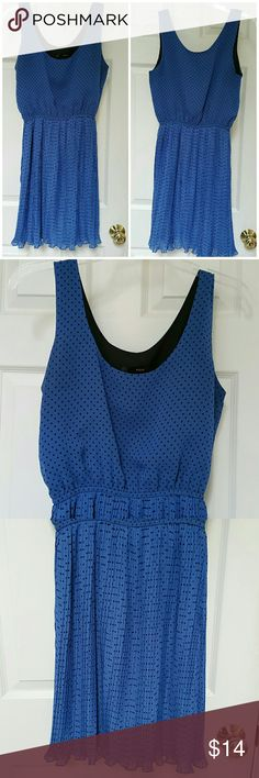 """AQUA blue/blk polka dot Summer flowy dress. Small Pretty blue with small black polka dots. Sleeveless, over the head, elastic at waist, pleated sheer fabric, flowy dress. Lined. Tagged Med, would fit a small better. Someone 110-120 lbs. Measures approx. 35"""" in length. Bust measures approx. 30/32"""". 100% polyester. Aqua Dresses"""