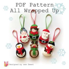 All Wrapped up Christmas Ornament decorations - PDF PATTERN, tree decorations, twig tree, instant download, tutorial, sewing, pattern, diy