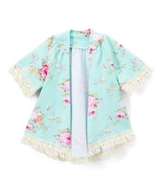 Miniature fashion mavens will delight in the bright florals blooming all across this colorful kimono featuring a fringe hem. Fringe Kimono, Kimono Top, Infant Toddler, Toddler Girls, Gingham, To My Daughter, Kids Fashion, Girl Outfits, Girl Clothing