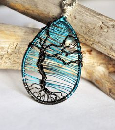 Moon necklace, Tree of life pendant, Tree necklace, Wire wrapped pendant, Nature jewelry, Blue jewellery, Glass bead necklace,Copper gift,UK
