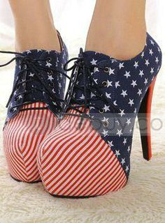 Splendid Hight Heel Striped Flag Night Club Women Shoes : Tidebuy.com (damn, need this in 8.5 or 9!)