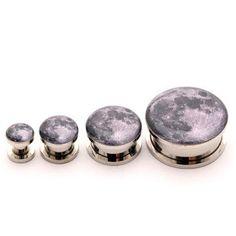 Full Moon Picture Plugs gauges - 16g, 14g, 12g, 10g, 8g, 6g, 4g, 2g, 0g, 00g, 7/16, 1/2, 9/16, 5/8, 3/4, 7/8, 1 inch