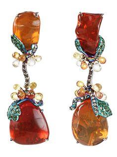 ARUNASHI Bejeweled fire opal drop earrings