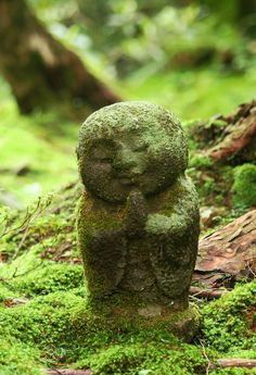 Moss-covered Jizo. Jizo is a Japanese Buddhist deity that is believed to protect travellers, children, pregnant women, and - most importantly - those children who died before they could be born or were stillborn.