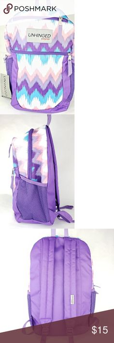 Jansport Unhinged Backpack Purple Chevron 100% polyester Full size Front  zip pocket with organizer Large b15dff2a154bb