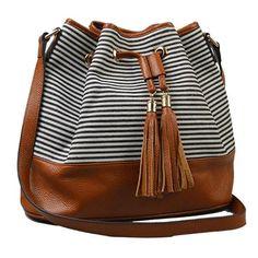 ROSE BAY - Navy Canvas Stripe + Genuine Leather Bucket Bag   BeltNBags