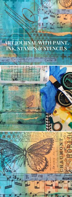 Art journal (5) with Dylusions paint, stamps, stencils and more (Marjie Kemper)