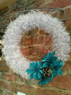 Chirstmas wreath inspired by Frozen blue and silver by TheKnitBrit