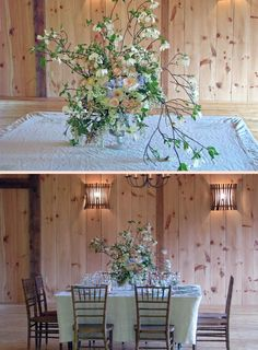 One of my favorite centerpieces.  Dogwood, Stock, Garden Roses, Iris, and Daffodils - photoshoot at Buttermilk Falls Inn and Spa -  flowers by Steven Bruce Design