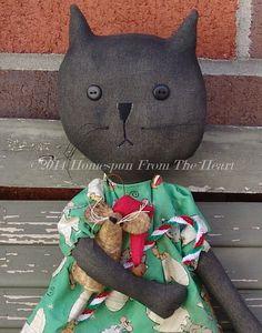 Primitive Christmas Kitty Pattern mouse pattern by CindysHomespun