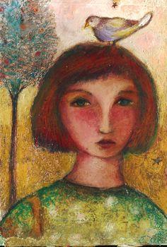 mixed media art Efi Kokkinaki. Looks so much like Chagall's work it seems to me. Great work.