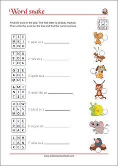 Word snake - animal idioms - reading game for children Letter Worksheets, Kindergarten Worksheets, Learning Numbers, Learning Letters, Reading Games, Pre Writing, Learning Colors, Idioms, Games For Kids