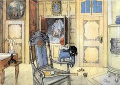 1905 The Antiquity Room pencil and watercolour by Carl Larsson Carl Larsson, Carl Spitzweg, Swedish Interiors, Swedish Style, Arts And Crafts Movement, Renoir, Museum Of Fine Arts, National Museum, Olaf