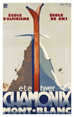Chamonix Mont-blanc voyage affiche par Henry Reb, 1933 - papier-affiche, autocollant ou toile imprimer  Pour les commandes en vrac (minimum de commande