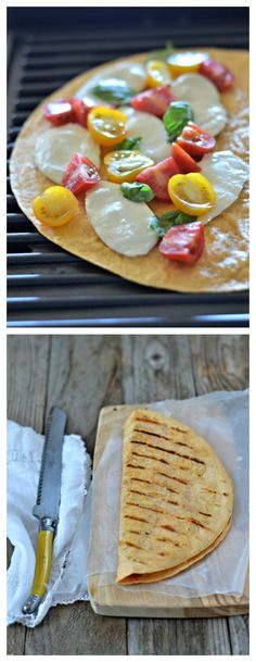 Grilled Caprese Quesadilla is summer at it's best! My favorite combo from summer straight from the grill! mountainmamacooks.com #TacoTuesday