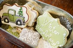 Snowflakes and Vintage Truck - Winter Wonderland Christmas Sugar Cookies by Snickety Snacks