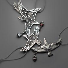 Celestial Bird Jewelry Night Raven Pendant with by SilveryLake
