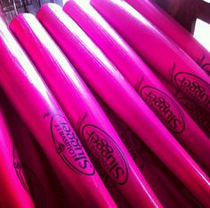 Pink baseball bats for Mother's Day and breast cancer awareness
