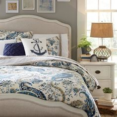 Adding sea-swept finds like our Anchor Fleet Pillow Cover make every day feel like a day by the sea! Shop this #coastal look at the link in our profile. #birchlanebedroombliss