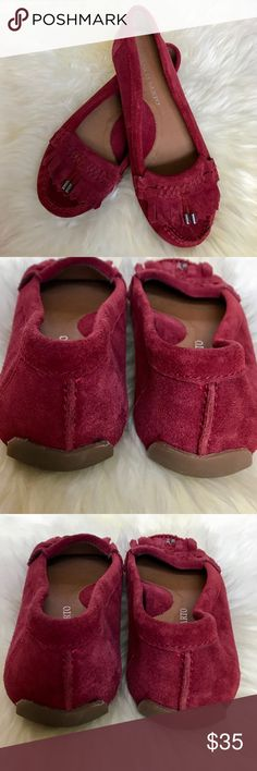 Franco Sarto Raspberry Suede Loafers Moccasins Beautiful suede leather driving moccasins in a red/maroon color. Excellent condition. Franco Sarto Shoes Flats & Loafers