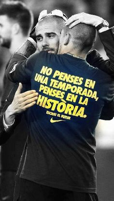 """Pep Guardiola and Victor Valdés. """"You don't think of a season, you think of history"""""""
