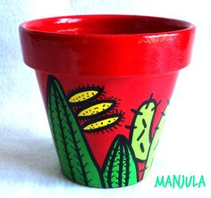 how to make a cactus flower Flower Pot Art, Clay Flower Pots, Flower Pot Crafts, Clay Pot Crafts, Cactus Flower, Pottery Painting, Ceramic Painting, Diy Painting, Painted Clay Pots