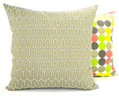"""Modern Dwell Studio Indoor/Outdoor """"Maze"""" Decorator Pillow Cover - Taupe Brindle and White Fabric Both Sides - To cover 18""""x18"""" Pillow Form. $28.00, via Etsy."""
