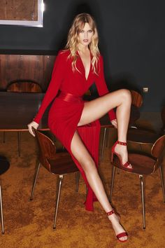 Lady in red: Stunning Alexandre Vauthier long sleeve wrap dress with thigh split - Fall 2016 Ready-to-Wear Fashion Show...x