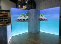 Modular walls with tension fabric graphics with internal lighting