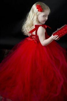 ❀ Fanciful Flower Girls ❀ dresses & hair accessories for the littlest wedding attendant :-) Flower Girl Tutu Dress in Red Roses