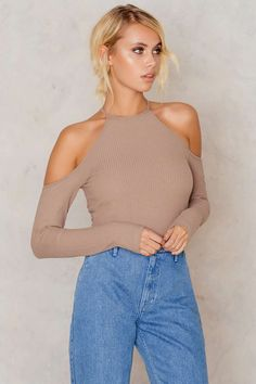 Cold Shoulders Rib Jersey Top