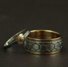 Gold Bee Rings--Honey Bee Mine Set--Bumblebee Ring--Honey Bee Ring--Helix…